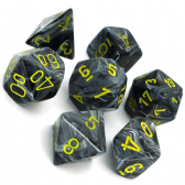 Black & Yellow Vortex Polyhedral 7 Dice Set